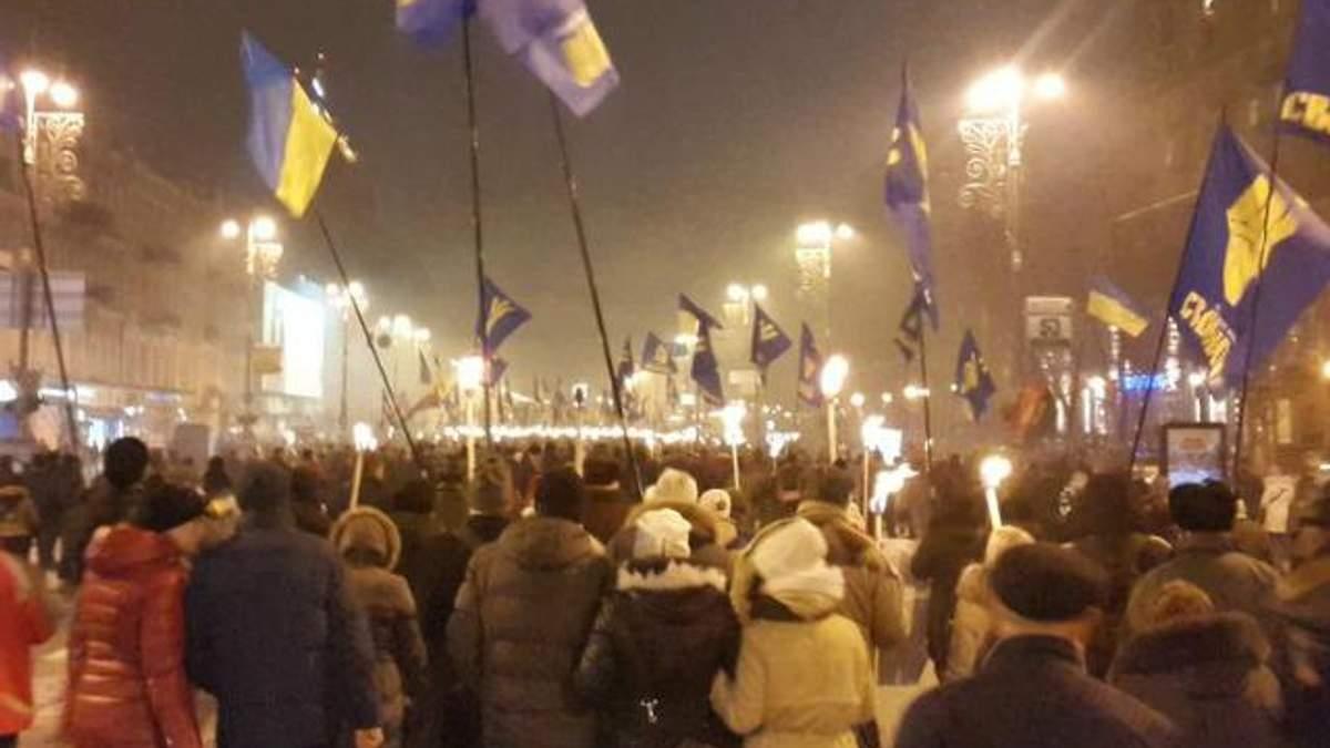 В Киеве пятитысячное факельное шествие ко дню рождения Бандеры