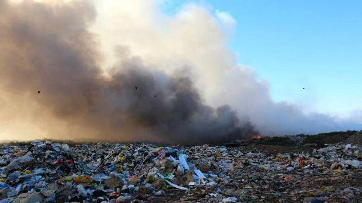 Під Києвом спалахнуло сміттєзвалище