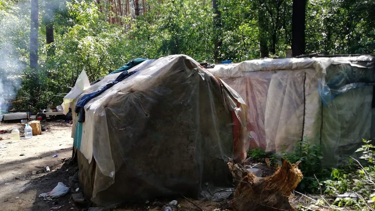 У Києві табір ромів захопив міський парк: фото з місця події