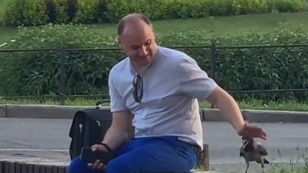 Чоловік ніжно гладить ворону: киян розчулило миле відео - Київ