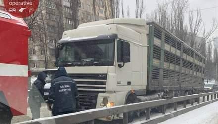 Десятки фур, які застрягли на дорогах, паралізували рух Києвом: відео